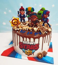 עוגת בראול סטארס וטפטופי גאנש - אומנות מתוקה | Cake Factory Birtday Cake, Hand Painted Cakes, Star Cakes, Cake Factory, Star Food, Star Party, Cute Desserts, Birthday Cake Girls, Cakes For Boys