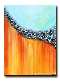 "GICLEE PRINT Art Large Abstract Painting Aqua Blue Canvas Prints Teal Rust Gold Multi Colored Wall Decor Sizes up to 60"" -Christine Krainock"