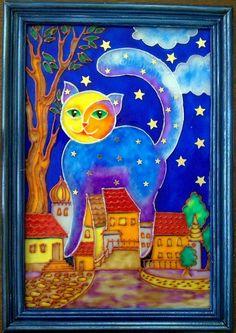 Работа со стеклом: лунный кот (витраж стекло творчество, роспись) ФОТО #1
