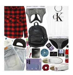 """Throwback: Nostalgic 90's"" by hollowpoint-smile ❤ liked on Polyvore featuring Calvin Klein, Topshop, Denham, Roark, Converse, CASSETTE, Boohoo, women's clothing, women's fashion and women"