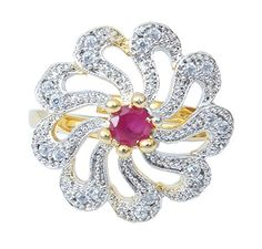 Waama Jewels Multi Cubic Zirconia Brass fashion ring for girls Plating is gold East indian Ring first gift (Model: WJR5009 )