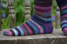 Leftover Sock Yarn Socks - every pair will be utterly unique depending on the colour choices. A gorgeous way to use up your oddments of leftover sock yarn!