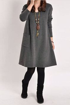 Fashionable A Line Dress. Perfect for a casual outing or a work day! Details: - Dresses - pocket - Loose - A-line - Long Sleeve - knee length - Fabric:Cotton, Polyester Free Shipping! MINCHIC suggest