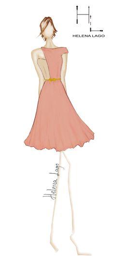 """""""Pivoines"""" Vestido rosa claro y beige con cinturón dorado."""