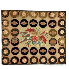 Floral-decorated Hooked Rug - $300 Hook Punch, Rug Studio, Hand Hooked Rugs, Wool Embroidery, Penny Rugs, Rug Sale, Rug Hooking, Antique Dolls, Vintage Toys