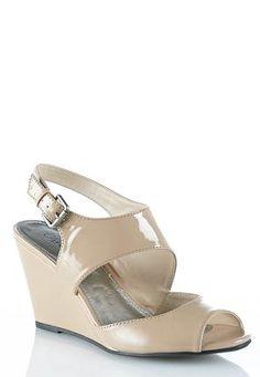 26e43eb9d49d Cato Fashions Patent Open Toe Wedges  CatoFashions Open Toe