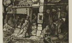 Living culture in the ghetto, Leo Haas. Plate made in 1942, printed 1945-46. (21.5 x 28 cm Drypoint and aquatin). In creating these works which depict the true reality of Theresienstadt, Haas risked his life. After the war he retrieved more than 400 drawings from Theresienstadt that he had hidden away in various hiding places.