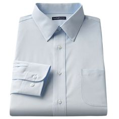 Men's Croft & Barrow® Fitted Solid Broadcloth Point-Collar Dress Shirt, Size: 18.5 36/37, Blue
