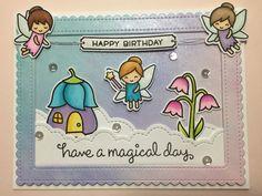 Lawn Fawn - Fairy Friends, Ready Set Shake, Puffy Cloud Borders _ pretty card by Suzanne via Flickr