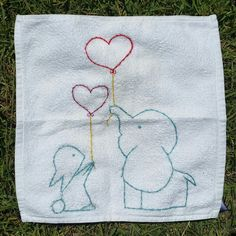 Embroidery. Rubbit. Elephant. Heart. Baloon.