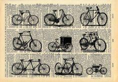 Old Book Art Print - Vintage Bicycle - Upcycled Antique Book Print - Kistch Vintage Bike Art - Black and White Art Print. $10.00, via Etsy.
