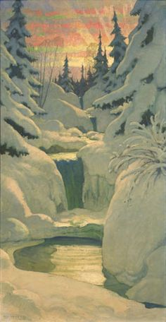 winter landscape by N. C. Wyeth (oil on canvas)