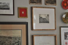 'Antique' gold frames are IKEA, made to look 100x more expensive with a little Rub-n-Buff paint. NINE + SIXTEEN