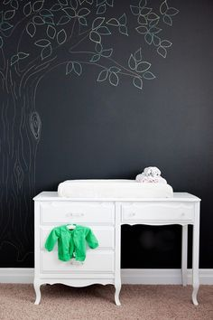 painted desk as changing table by cristina