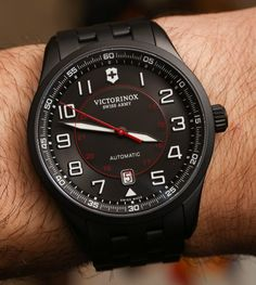 Reviewing and sharing our experience with you on this daily wearer with a military look - Victorinox Swiss Army Airboss Mechanical Black Edition on a  robusts PVD-coated black steel bracelet...  Read about it: http://www.ablogtowatch.com/victorinox-swiss-army-airboss-mechanical-black-edition-watch-bracelet-review/ #ablogtowatch