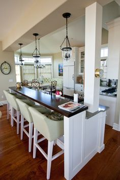 Galley kitchen makeover small galley kitchen in an open for Galley kitchen with breakfast nook