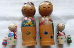 Vintage Japanese Kokeshi Wood Bobble Head Nesting Dolls - Japanese Folk Art rare
