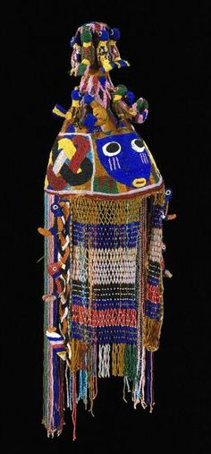 Africa | Crown from the Yoruba people of Nigeria | ca. 1930 | Glass beads, plant fiber, cotton and iron