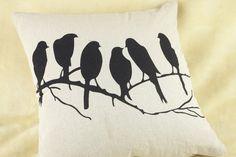 Birds tree pillowcase Cotton Linen Square Cushion Cover Home decor (only case) #Modern