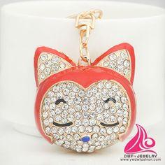 New Creative Big Crystal Cat head Keyring Fashion Rhinestone Alloy Cheap Animal Custom Key Chain