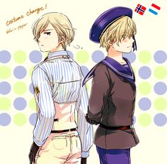 Hetalia (ヘタリア) - Norway & Luxembourg - they switched outfits! -「ほぐべねあくゆ」/「橙-daidai-」の漫画 [pixiv]