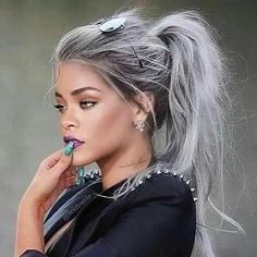 Get that look with our Silver hair extensions Human Hair Extensions   Free delivery worldwide. #humanhairextensions