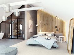 razoo-architekci A Frame House, Bedroom Design, House Design, Home And Living, New Homes, Loft Room, House Interior, Farmhouse Renovation, Home Deco