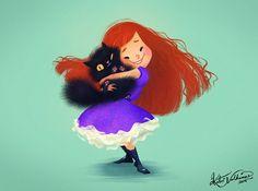 ArtStation - A Girl and Her Cat, Katri Valkamo