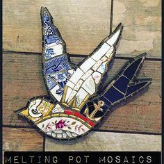 Swallow Mosaic Wall Art by Melting Pot Mosaics Mirror Mosaic, Mosaic Wall Art, Mosaic Diy, Mosaic Garden, Mosaic Crafts, Mosaic Projects, Glass Wall Art, Stained Glass Art, Mosaic Glass