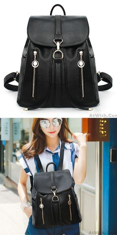 Causal Soft Leather Travel Rucksack Zipper Women's Shopping Backpacks for big sale! #travel #soft #school #college #backpack #rucksack #bag #bow #cute #girl