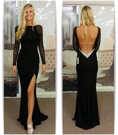 2016 New Style Black Prom Dresses With Long Sleeves Lace Bodice Backless Chiffon Evening Dress