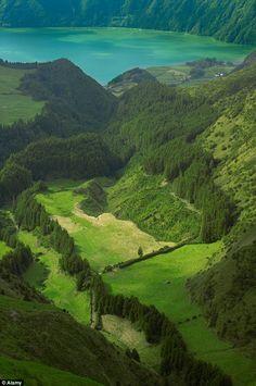 Tranquil:Looking down into caldera of Sete Cidades toward Lagoa Azul, Sao Miguel island, Azores