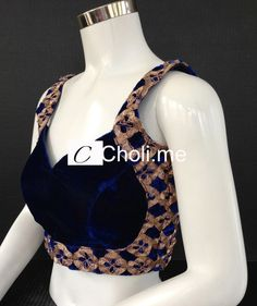 * Blue Velvet Embroidered Choli