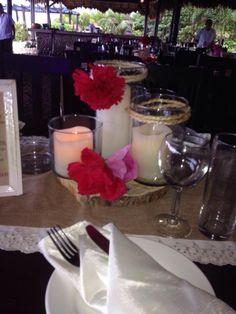 CBV173 Weddings Riviera Maya candles centerpieces/ Boda Riviera maya  centro de mesa de velas