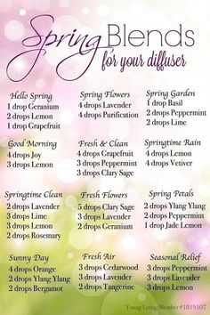 Spring Diffuser Recipes for Young Living Essential Oils Essential Oil Diffuser Blends, Doterra Oils, Doterra Essential Oils, Oils For Diffuser, Sleeping Essential Oil Blends, Doterra Blends, Geranium Essential Oil, Aromatherapy Recipes, Aromatherapy Oils