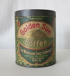 GOLDEN SUN COFFEE VINTAGE TIN, THE WOOLSON SPICE COMPANY, TOLEDO OHIO #GOLDENSUN