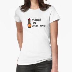 """Maggi On Everything"" T-shirt by bonniemamadraws | Redbubble Japanese S, Korean Women, Neck T Shirt, Shirt Designs, Solid Colors, Dressing, Slim, Crew Neck, Range"