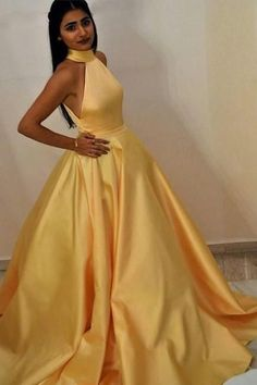 High Neck Yellow Prom Gown with Satin Full Skirt CR 1093 by Cherry, $139.64 USD