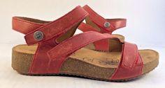 Joseph Seibel Red Tonga Wedged Strappy Sandal Womens Size EUR 37M #JosefSeibel #StrappySandals #Beach