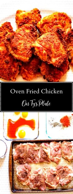 #ovenfried #wonderful #perfectly #southern #yourself #prepare #chicken #effort #recipe #thighs #crispy #enjoy #treat #crisp #fried Prepare yourself for a wonderful treat with this crispy oven-fried chicken thighs recipe. Enjoy perPrepare yourself for a wonderful treat with this crispy oven-fried chicken thighs recipe. Enjoy perfectly crisp southern fried chicken with less effort. | On Ty's PlatePrepare yourself for a wonderful treat with this crispy oven-fried chicken thighs recipe. Enjoy... Fried Chicken Thigh Recipes, Oven Fried Chicken Thighs, Oven Baked Chicken Tenders, Baked Chicken Legs, Chicken Tights Recipes, Recipes With Chicken Thighs, Crispy Chicken Recipes, Healthy Chicken, Crispy Oven Fries