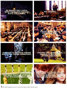 He missed Hogwarts so much it was like having a constant stomach ache. He missed the castle with its secret passageways and ghosts, his lessons, the post arriving by owl, eating banquets in the Great Hall, sleeping in his four-poster bed in the tower dormitory, visiting the gamekeeper, Hagrid, in his cabin on the grounds, and especially Quidditch, the most popular sport in the wizarding world. More that anything else at Hogwarts, more even than playing Quidditch, Harry missed his best…