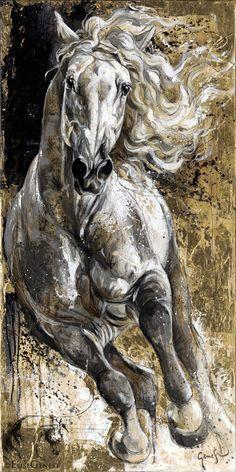 Resultado de imagen para caballo negro en acrilico
