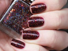 Femme Fatale - Make Way for Your Queen | DopeNails exclusive | July 30, 2016 | inspired by Queen of Pain aka Akasha from DotA 2. A gorgeous burgundy jelly filled with copper holo, iridescent blue, orange flakes and iridescent squares.