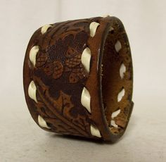 Reclaimed Brown leather cuff bracelet  acorn by honeyblossomstudio