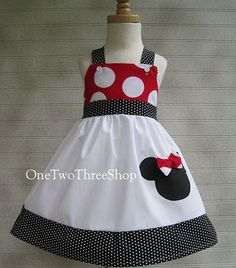 Custom Boutique Minnie Mouse Jumper Dress 12 Months to 6 by amacim Sewing For Kids, Baby Sewing, Toddler Dress, Baby Dress, Little Girl Dresses, Girls Dresses, Jumper Dress, Girl Doll Clothes, Kids Outfits