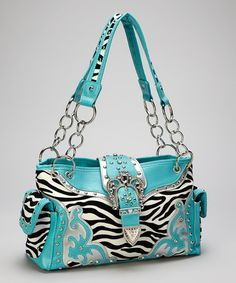 Take a look at this Turquoise Crown Buckle Zebra Shoulder Bag by Rhinestone Junkie on #zulily today!