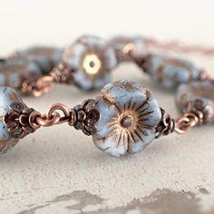 Artisan Czech Glass Flower Bracelet Matte Dusty Blue and