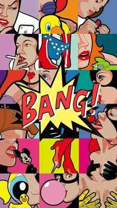 Best Ideas For Pop Art Typography Backgrounds Pop Art Wallpaper, Wallpaper Backgrounds, Pop Art Design, Art Pictures, Photos, Arte Pop, Diy Canvas Art, Modern Art Prints, Cute Wallpapers