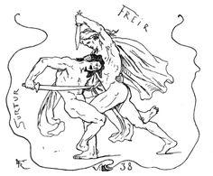 Surtr and Freyr by Lorenz Frølich