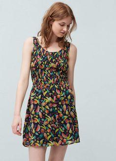 Sukienka marszczona fantazyjna wstawka | MANGO